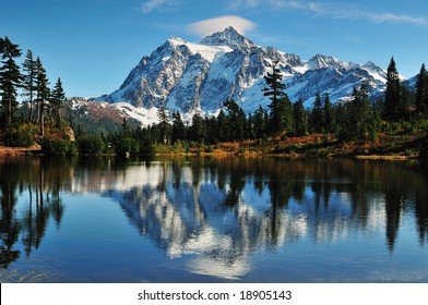 Reflection of Mt Shuksan on Picture Lake at Mount Baker