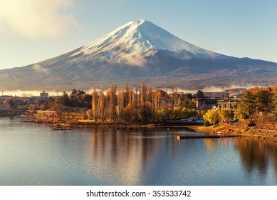 reflection of mt.Fuji in kawaguchiko lake with sunrise scene and fog in morning