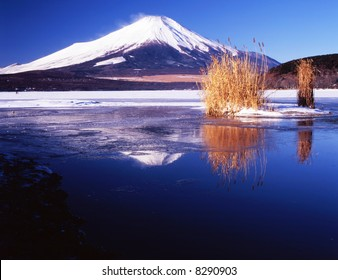 the reflection of Mt,fuji on a lake