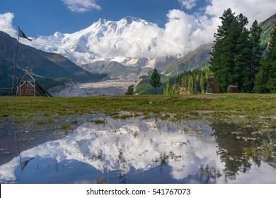 Reflection of Nanga Parbat mountain, Fairy Meadow, Gilgit, Pakistan, Asia
