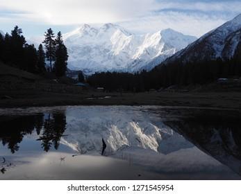Reflection of Nanga Parbat. Northern of Pakistan.