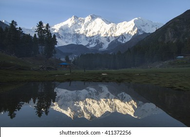 Reflection Nanga Parbat peak in water from Fairy Meadows, National parks of Pakistan