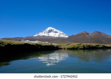 Reflection of the Nevado Sajama in a pool in the Sajama National Park, Bolivia