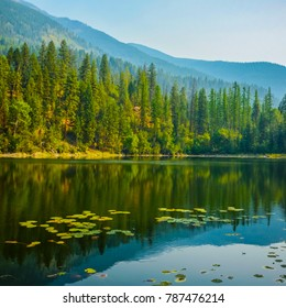 Reflection on Canuck Lake in Premier Lake Provincial Park, British Columbia, Canada