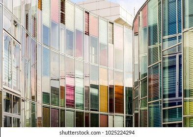 Reflection on the exterior of an office skyscraper in Berlin, Germany.