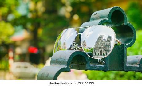 Reflection on Glasses of St Joseph's Cathedral in Hanoi, Hanoi, Vietnam