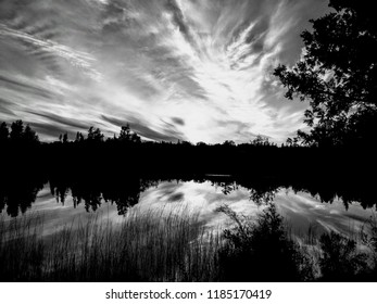 Reflection on the Lake in Black & White