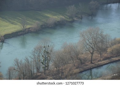 Reflection on the Rhone to Rhine canal near the Doubs river in Aveney, Franche-Comté, France