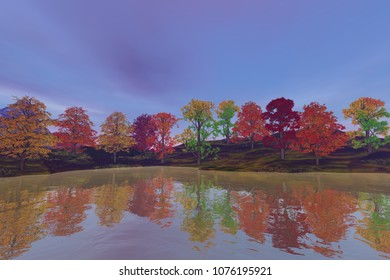 Reflection on the river, an autumn landscape, beautiful trees with colored leaves and a cloudy sky.