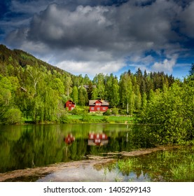 Reflection on a small lake in Norway