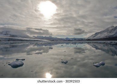 Reflection on Spitsbergen island, Arctic .