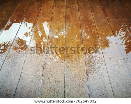 Reflection On Wet Wood Floor Stock Photo Edit Now 702549832