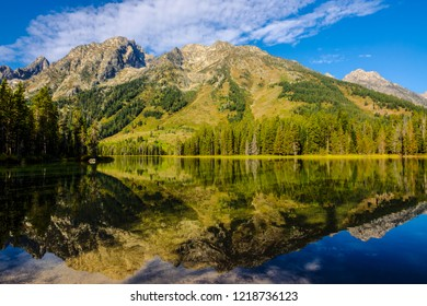 The reflection of the peaks, clouds, and trees, on Leigh Lake in Grand Teton National Park in Wyoming appears as a near perfect mirror image.