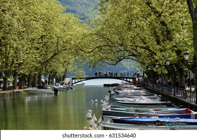 Reflection of Pont des Amours (Bridge of Love) in Annecy, France.