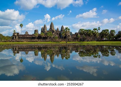Reflection pool at Angkor Wat, vivid color