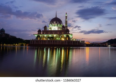 Reflection of the Putra Mosque at sunrise
