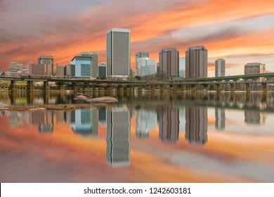 Reflection of the Richmond,Virginia morning city skyline along the James River.
