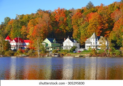 Reflection in Saranac Lake, Autumn in the Adirondacks, New York