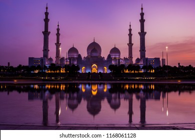 Reflection of Sheikh Zayed Mosque in Wahat al Karama