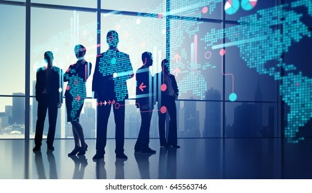 Reflection of silhouettes in the office on a digital display. Business illustration. 3D rendering of environment