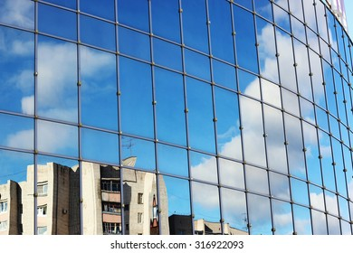 reflection of the sky in the glass windows