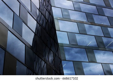 Reflection of sky in Windows, blue, UB Freiburg, Germany