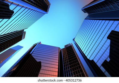 reflection of skyscrapers in the Windows of houses the background is a 3D render illustration