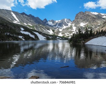 Reflection of snow, mountains and blue sky in Lake Isabelle at Brainard Lake Recreation Area in Colorado