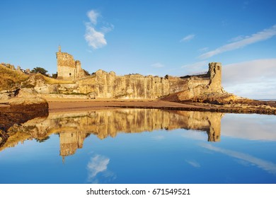 Reflection of St Andrews Castle, Fife, Scotland, United Kingdom