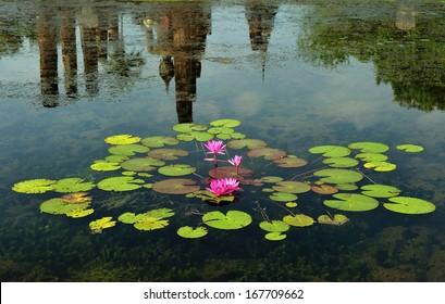 reflection of Sukothai historical park, Unesco world heritage