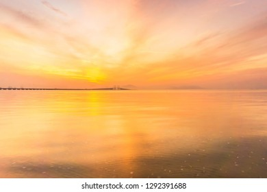 Reflection of sunrise for blur background