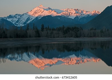 Reflection sunset Mt Baker