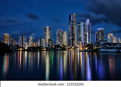 Reflection of Surfers Paradise buildings and apartments at night, Gold Coast Australia