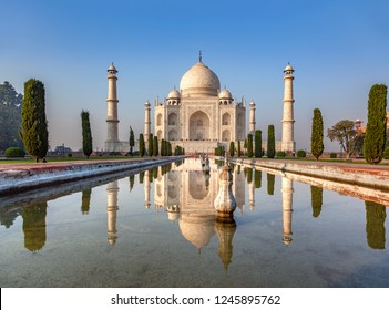 reflection of Taj Mahal in India