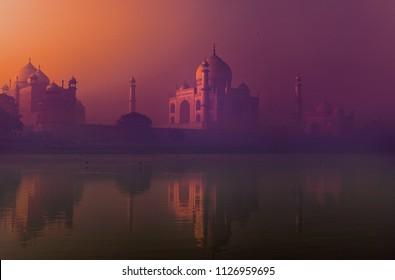 The reflection of Tajmahal at Jamuna river