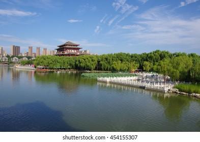 Reflection of the Tang Paradise Center at night, Xi'an, China