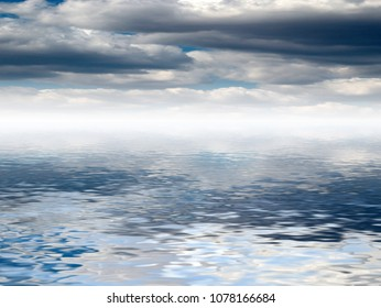 reflection of thunderclouds in calm sea water