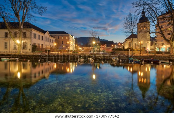 Reflection of the town hall of annecy