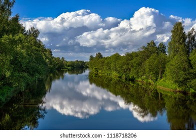Reflection of trees in the river by summer