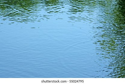 The reflection of trees in the water with ripples on a light windy day.