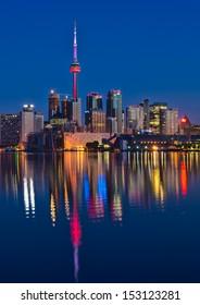 Reflection of Vibrant Toronto skyline