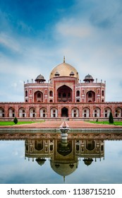 A reflection view Humayun's Tomb, Delhi, a UNESCO World Heritage site. A historical moments from mughal empire