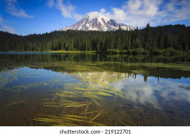 Reflection of water and mountains at Mount Rainier National Park