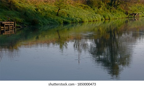 reflection in water of trees and green coast