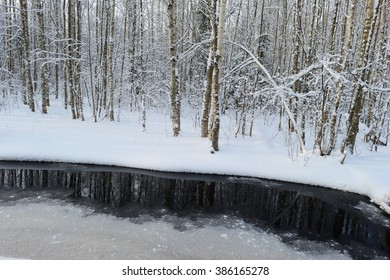 Reflection of winter forest in the dark water forest river