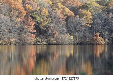 Die Reflexionen eines schönen Tages in der Herbstsaison