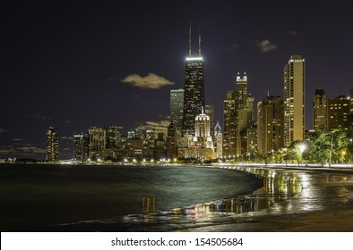 Reflections from Chicago Downtown at night