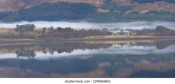 Reflections at Fassfern on the shores of Loch Eil in Lochaber in the Scottish Highlands.