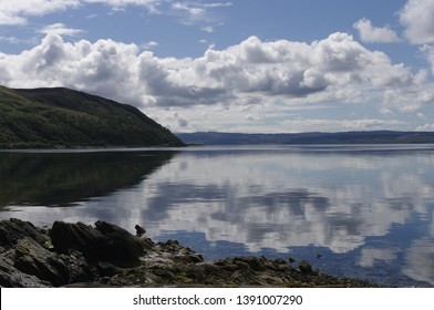 Reflections at Isle of Arran looking over the Kilbrannan Sound to Kintyre,Argyll,Scotland