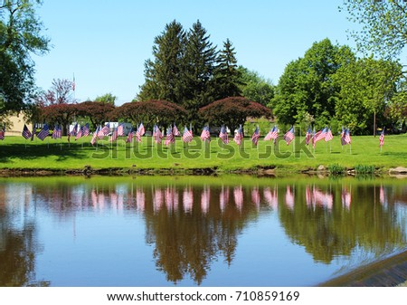 Reflections On Memorial Day >> Reflections Memorial Day Flags Veterans Memorial Stock Photo Edit